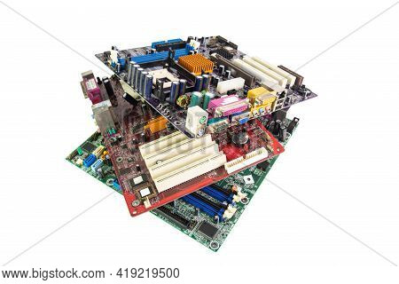 Electronic Waste Of Mainboard Computer - Old Computer Circuit Boards From Recycle Industry Isolated