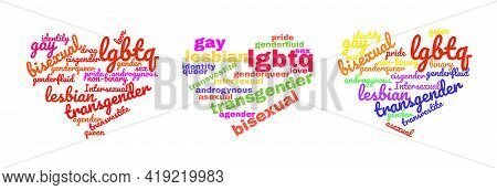 Colorful Rainbow Pride Heart Shape Tagcloud Isolated On White Background. Illustration With Words