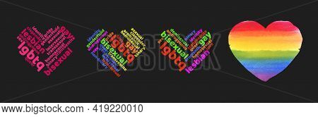 Colorful Rainbow Pride Heart Shape Tagcloud Isolated On Dark Background. Illustration With Words