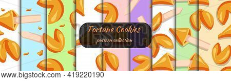 Fortune Cookies Set Of Seamless Patterns Drawn In Cartoon Style