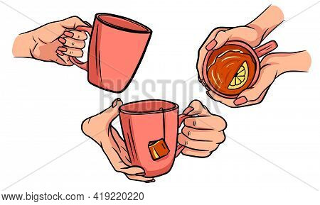 Cup Of Hot Tea In Female Hands In Cartoon Style
