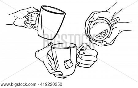 Cup Of Hot Tea In Female Hands In Sketch Style