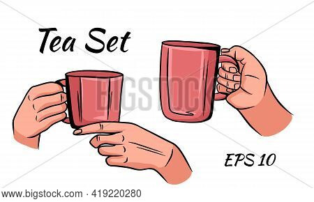 Cup Of Tea Or Coffee In Female Hands In Cartoon Style