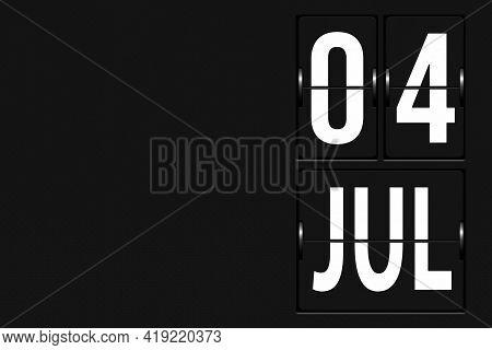 July 4th. Day 4 Of Month, Calendar Date. Calendar In The Form Of A Mechanical Scoreboard Tableau. Su