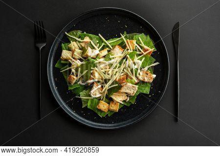 Caesar Salad In Heart Shape Love Food Concept, Black Stone Luxury Plate, Top View Flat Lay Design, B