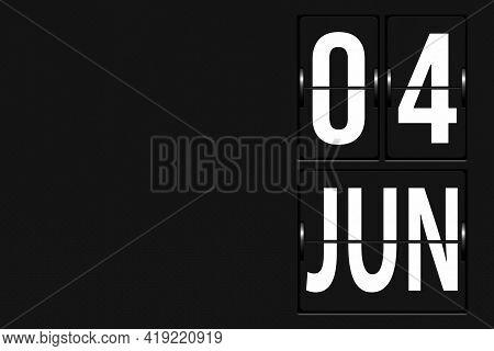 June 4th. Day 4 Of Month, Calendar Date. Calendar In The Form Of A Mechanical Scoreboard Tableau. Su