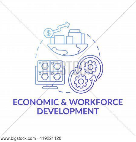 Economic And Workforce Development Dark Blue Concept Icon. Technology Improvement. Financial Managem