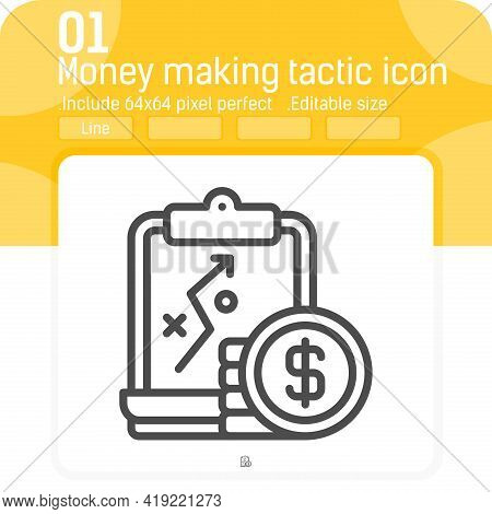 Money Making Tactic Icon With Line Style Isolated On White Background. Vector Illustration Business
