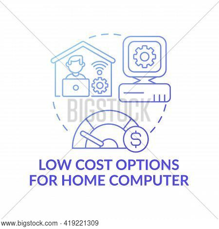 Low Cost Options For Home Computer Dark Gradient Blue Concept Icon. Affordable Personal Computer. Di