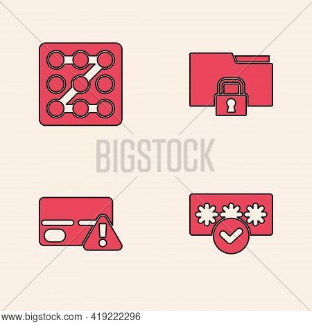 Set Password Protection, Graphic Password, Folder And Lock And Credit Card Icon. Vector