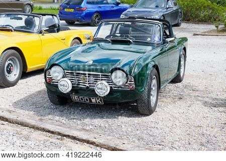 Corwen, Wales, Uk - April 29 2021: Triumph Tr4 Convertible A Classic British Two Seat Sports Car Or
