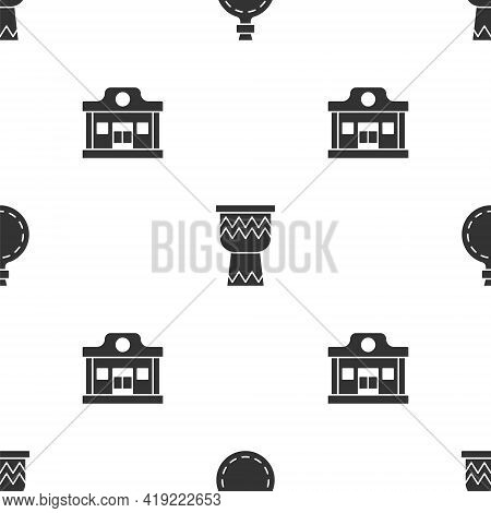 Set Canteen Water Bottle, Drum And Wild West Saloon On Seamless Pattern. Vector