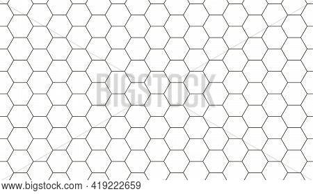 Seamless Pattern Of Hexagonal Honeycomb Background. Hexagon Tile, Cells Pattern. Mosaic Shapes. Vect
