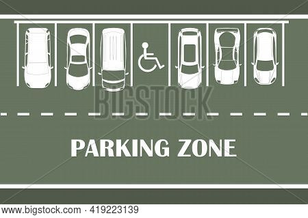 Parking Lot Banner. Parking Design Over Green Background. White Cars Silhouette Top View. Many Cars