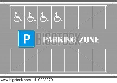 Parking Car Zone Marks Isolated On Gray Background. City Street Parking. Parallel Lots, White Lines