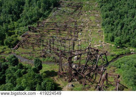 View Of The Damaged Railroad Bridge Due To A Tornado At The Kinzua Railroad Bridge