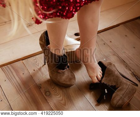 Little Girl Play Imitate Adult, Wearing Red Sequined Dress And Big Suede Brown High Heels Shoes, Dre