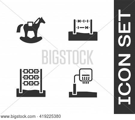 Set Basketball Backboard, Horse In Saddle Swing, Tic Tac Toe Game And Abacus Icon. Vector