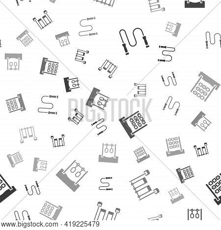 Set Jump Rope, Double Swing, Tic Tac Toe Game And Gymnastic Rings On Seamless Pattern. Vector