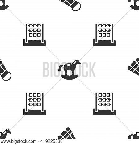 Set Badminton Shuttlecock, Horse Saddle Swing And Tic Tac Toe Game On Seamless Pattern. Vector