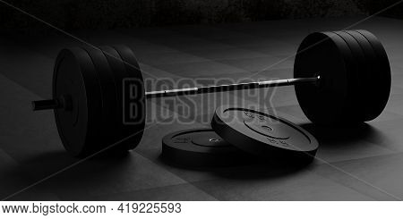 Barbell With Chrome Handle And Black Plates In Front On Floor On Black Mats Background, Sport, Fitne