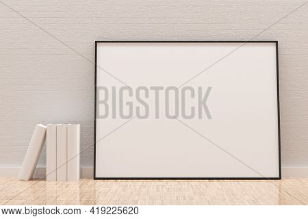 White Empty Blank Picture Or Poster Frame Template Mock Up Design Standing On Wooden Floor With Whit
