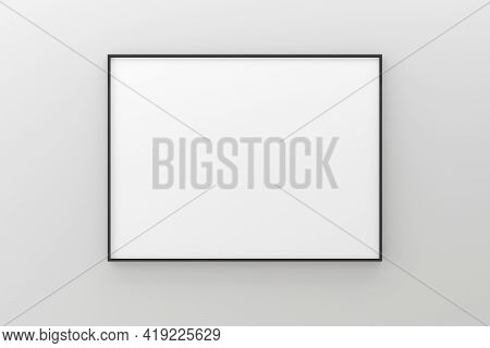 White Empty Blank Picture Or Poster Frame Template Mock Up Design Hanging On White Wall Background I