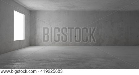 Abstract Empty, Modern Concrete Room With Window On The Left Wall And Rough Floor - Industrial Inter