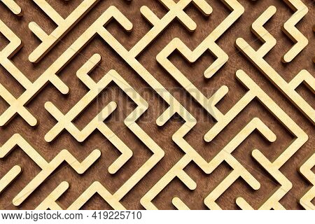 Large Wooden Maze Or Labyrinth Over Brown Wood Background, Success, Strategy Or Solution Concept, 3d