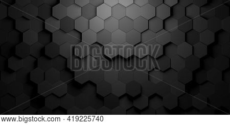 Black Hexagon Honeycombs Shifted Mosaic Abstract Background Pattern Geometrical Design With Ligth Fr