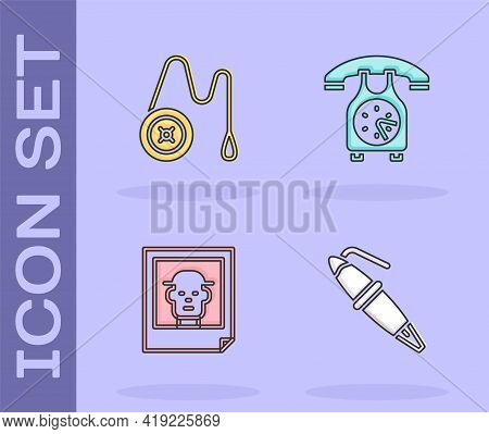 Set Fountain Pen Nib, Yoyo Toy, Photo And Telephone Handset Icon. Vector