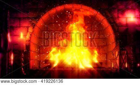 Red Masonry Chimney Flames Lighting , Digital Object 3d Rendering