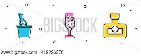 Set Champagne In An Ice Bucket, Glass Of Champagne And Alcohol Drink Rum Icon. Vector