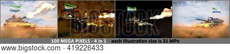 4 High Detail Illustrations Of Heavy Tank With Not Real Design And With Sierra Leone Flag - Sierra L