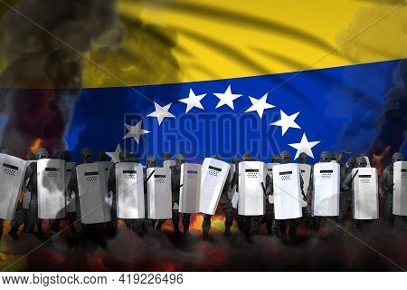 Venezuela Protest Stopping Concept, Police Swat In Heavy Smoke And Fire Protecting Government Agains