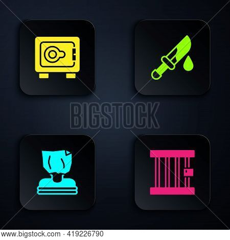 Set Prison Window, Safe, Kidnaping And Bloody Knife. Black Square Button. Vector