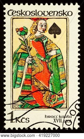 Moscow, Russia - May 02, 2021: Stamp Printed In Czechoslovakia Shows Queen Of Spades, Card From 16th