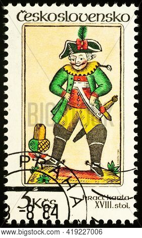 Moscow, Russia - May 02, 2021: Stamp Printed In Czechoslovakia Shows Card From 18th Century, Series