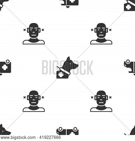 Set Emergency Car, Guide Dog And Deaf On Seamless Pattern. Vector
