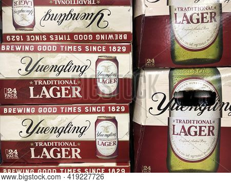 Indianapolis - Circa May 2021: Yuengling Traditional Lager Display. Yuengling Is The Oldest Operatin