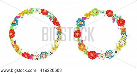 Hand-drawn Multicolour Doodle Circular Outlines, Frames Made Of Flower, Star, Cloud Shapes. Copy Spa