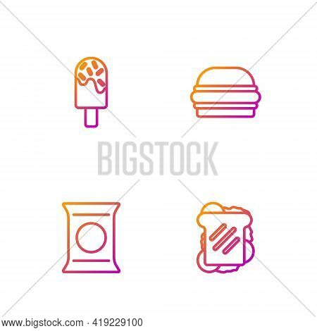 Set Line Sandwich, Bag Or Packet Potato Chips, Ice Cream And Burger. Gradient Color Icons. Vector