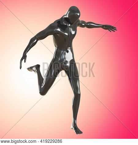Black Male Glossy Mannequin In The Pose Of A Playing Football Player Against A Pink Backlit Backgrou