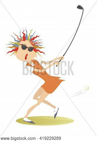 Young Golfer Woman On The Golf Course Illustration. Cartoon Golfer Woman In Sunglasses Aiming To Do