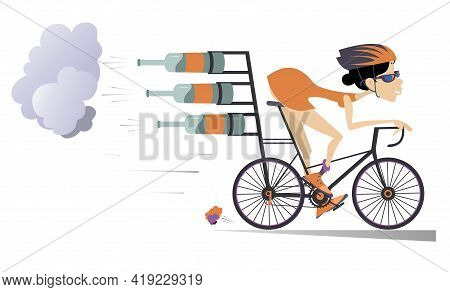 Smiling Woman In Helmet And Sunglasses On The Bike Tries To Ride Faster Using Bottles With Carbonate
