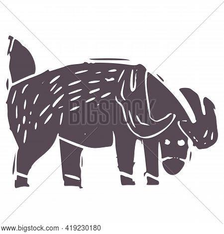 Hand Carved Bold Block Print Deer Icon Clip Art. Folk Illustration Design Element. Modern Boho Decor