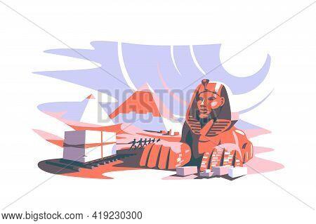 Building Pyramid In Egypt Vector Illustration. Slave