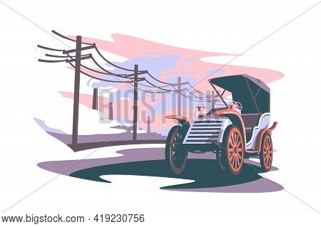 Composition Of Industrial Age Vector Illustration. Abstract