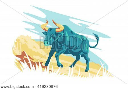 Wild Animal Character Aurochs Vector Illustration. Aurochs