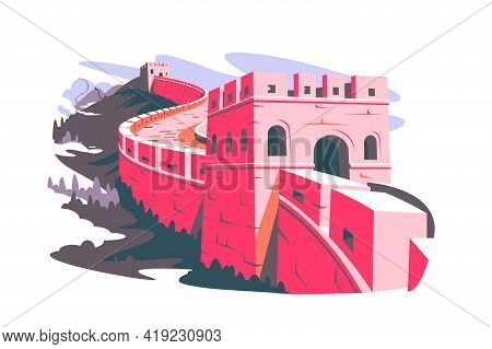 Great Wall Of China Vector Illustration. Chinese